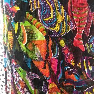 Bathing suit  sarong black w/ ocean print